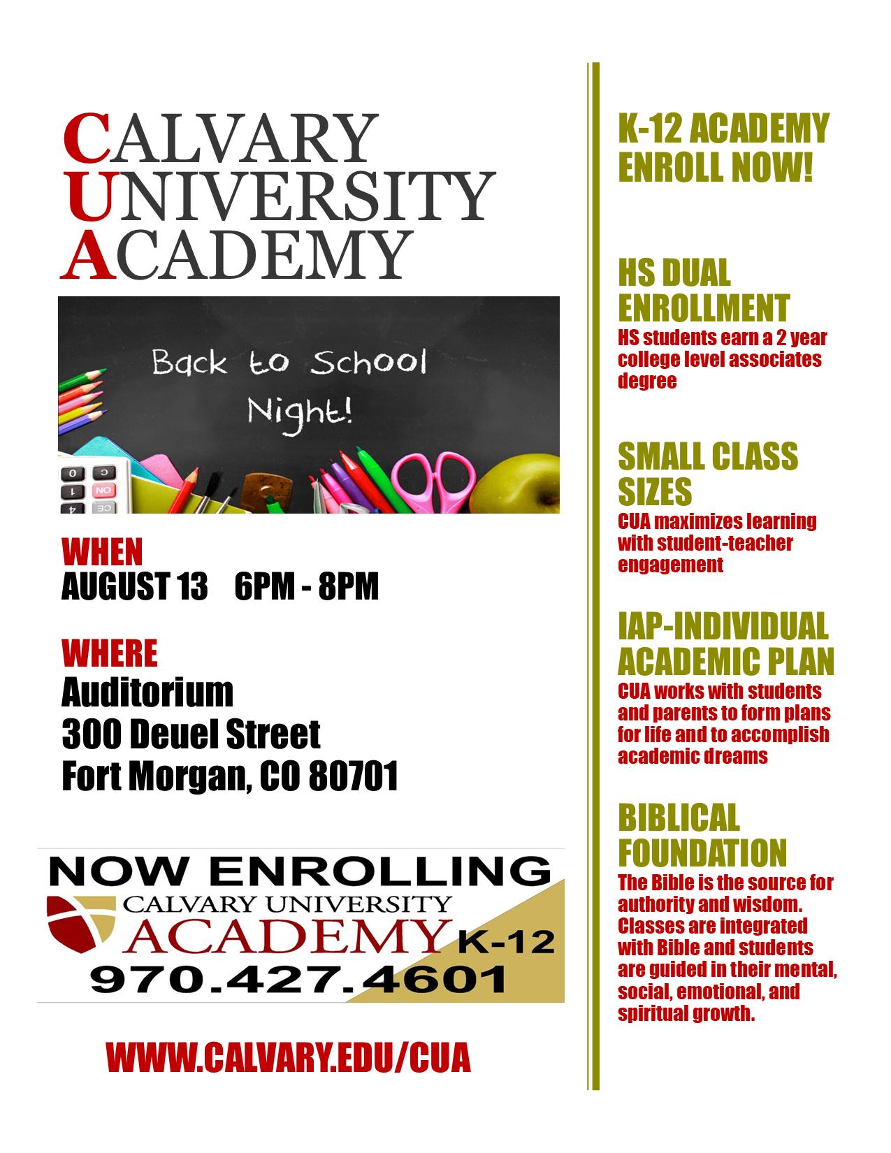 Cua Academic Calendar Fall 2021 Calvary University Academy   Calvary University